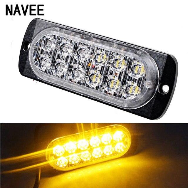 1PC 12V-24V 12 LED Car Truck Emergency Warning LED Strobe Flash Light Hazard Flashing Lamp Driving DayLight Bar 36W