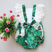 New Toddler Green Leafs Bodysuits Outfit Baby Girls Lace Sleeveless Playsuit Kids Girls Summer Fashion Clothes Bodysuit Jumpsuit(China)