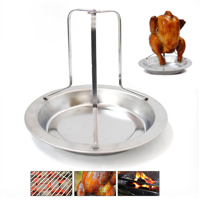 Stainless Steel BBQ Chicken Roaster Shelf Barbecue Meat Holder Gridiron Grill Box Outdoor Camping BBQ Tools Chicken Rack 1pcs