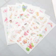 6pcs/lot Lovely Fresh Flamingo Sticker Decorative Scrapbooking Stickers Diary Album DIY Decor Kids Gift