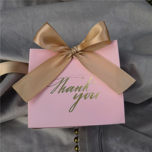 25Pcs Thank You Printed PINK Candy Bag Box for Favor Gift De