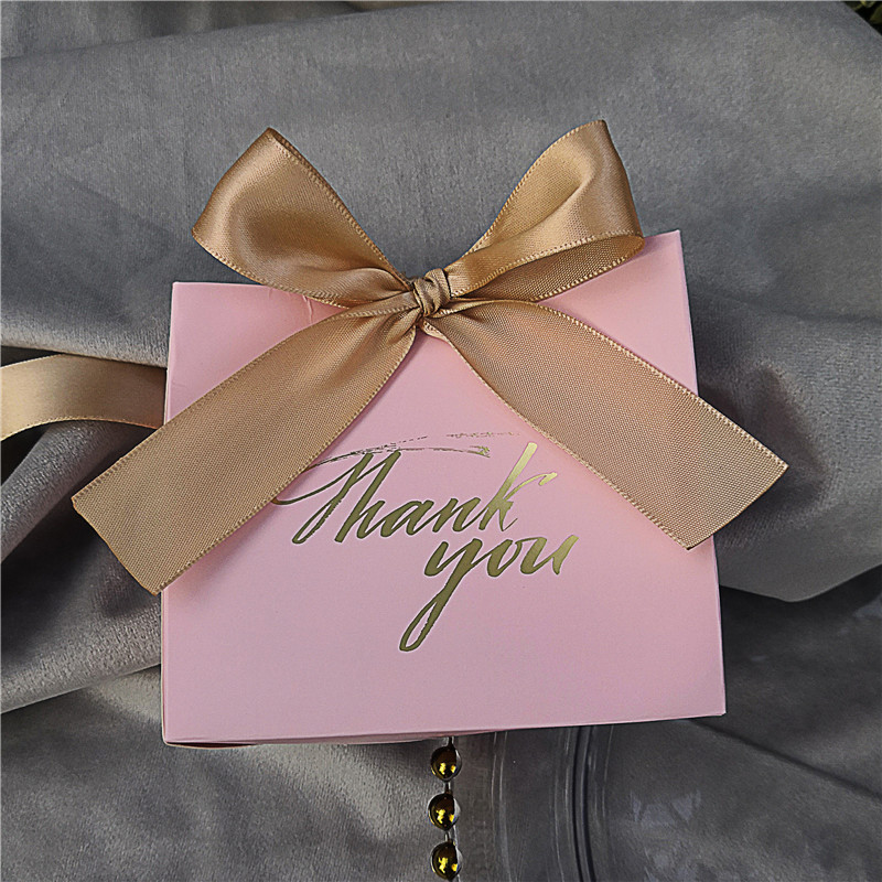 25Pcs Thank You Printed PINK Candy Bag Box for Favor Gift Decoration/Event Party Supplies/Wedding Favours Gift Boxes image