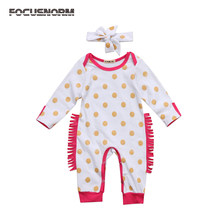 Cute Newborn Infant Baby Girl autumn Romper printed yellow dots Cotton Jumpsuit headband Clothes long sleeve Rompers for baby(China)