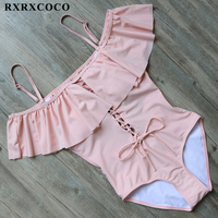 RXRXCOCO Ruffle One Pieces Swimwear Women Sexy Bandage Hollow Swimsuit Backless Monokini Solid Padded Swimming Suit