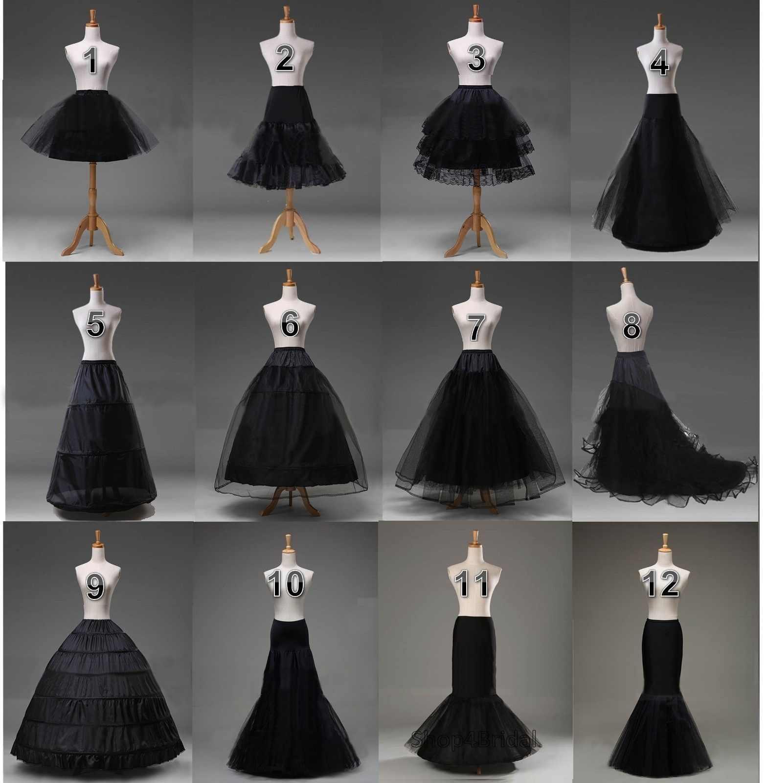 fddc554b51b8 Black Bridal Petticoat Crinoline Underskirt Hoop/Hoopless/Mermaid/Fishtail