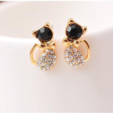 E120 Pendientes New Brinco Boucle D'oreille Bijoux Cute Crystal Bow Gem Kitty Cat Stud Earrings For Women Wedding Girl Jewelry