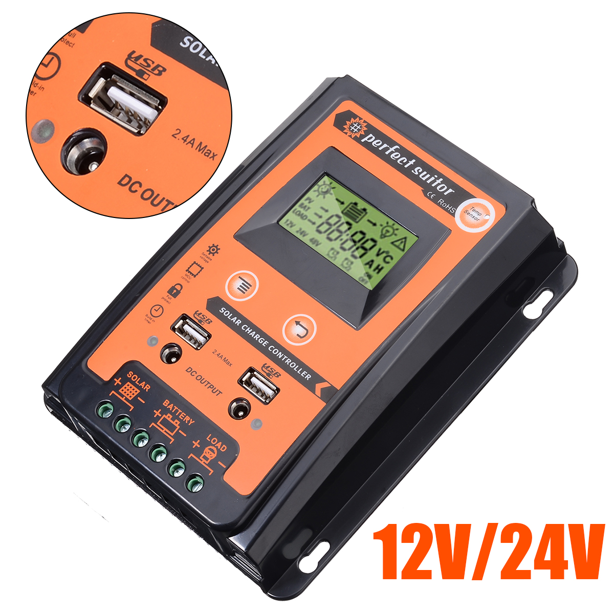 12V/24V 30A Durable MPPT Solar Charge Controller Dual USB LCD Display Solar Panel Battery Regulator PWM Solar Controller