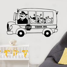 School Bus Wall Decal Happy Kids Children Sticker Back To Decoration Removable Vinyl Art Mural AY1247