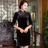 Màu đen Thanh Lịch Trung Quốc của Phụ Nữ Velour Sườn Xám Bán Hot Truyền Thống Phong Cách Mini cái yếm Váy Vestido Kích Thước S M L XL XXL XXXL 275961