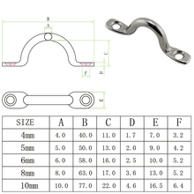 Stainless Bimini Top Loop Down Strap Pad Eye Mini SUS316  Marine Boat Bimini Top Down Pad Eye Straps 4mm 10pcs