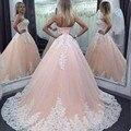 2017 Vestidos Quinceanera Por 15 Anos vestido de Baile Querida Champagne Tulle Com Apliques Brancos Baratos Debutante Vestidos Para Festa