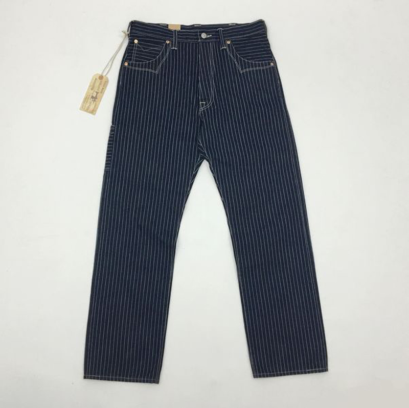 BOB DONG Wabash Mens Pants Railway Striped Trousers Selvage Cargo Straight Pants 14.5oz Vintage Bottoms W36