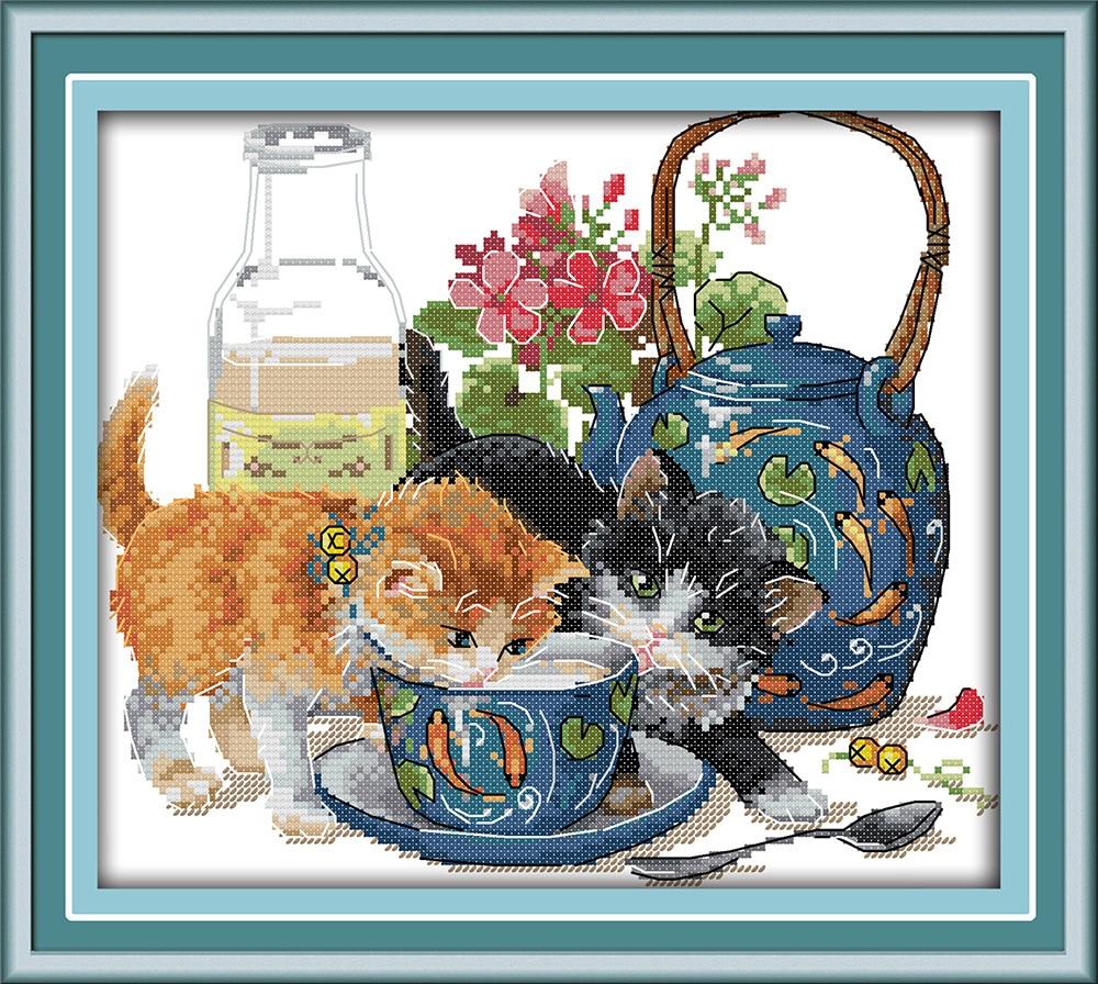 Lijepih mačaka prebrojani križevi setovi DMC žigosani križić - Umjetnost, obrt i šivanje - Foto 3