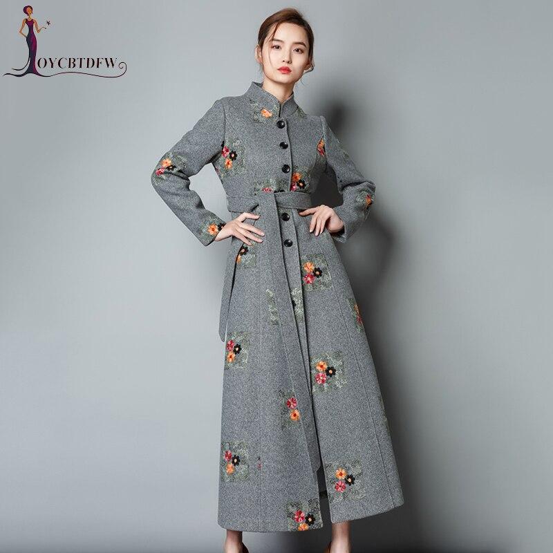 Abrigo Mujer верхняя одежда осень зима Новый Для женщин Длинные Вышивка Шерстяное пальто 2018 Мода ретро Высокое качество Тонкий Большой Размеры