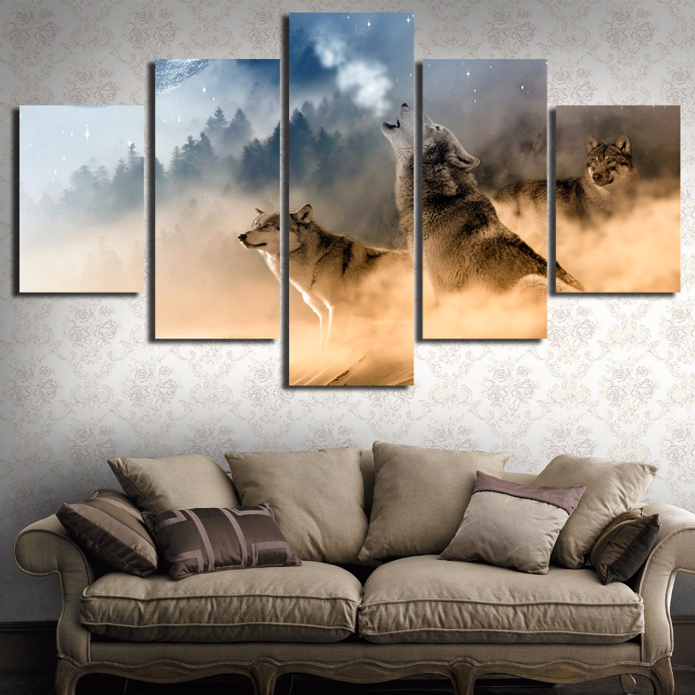 Us 9 58 5 Off Canvas Painting New Three Wolves In The Mountains Roar 5 Piece Wall Painting Art Paint On Canvas Home Decor For Living Room R122 In