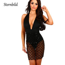 STERNBILD 2018 Sexy Dresses Party Night Club Halter Bodycon Dress Deep V  Neck Transparency Mesh Sequins Sheer Dress Vestido a3ae57d8fae7