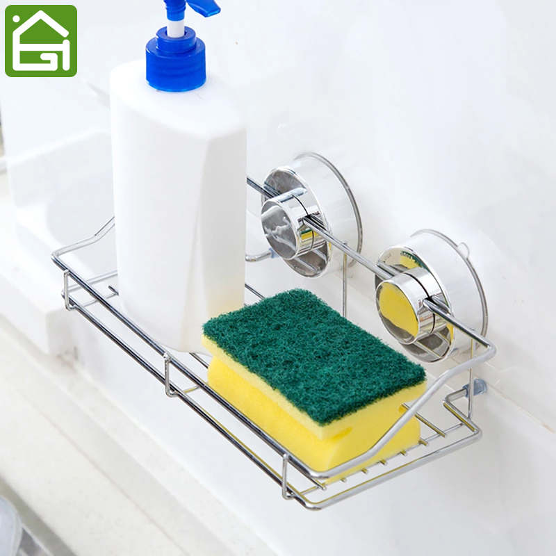 Stainless Steel Sink Sucker Organizer Shelf Bathroom Wall Vacuum Suction Cup Sponges Storage Basket Kitchen Soap Towel Holder