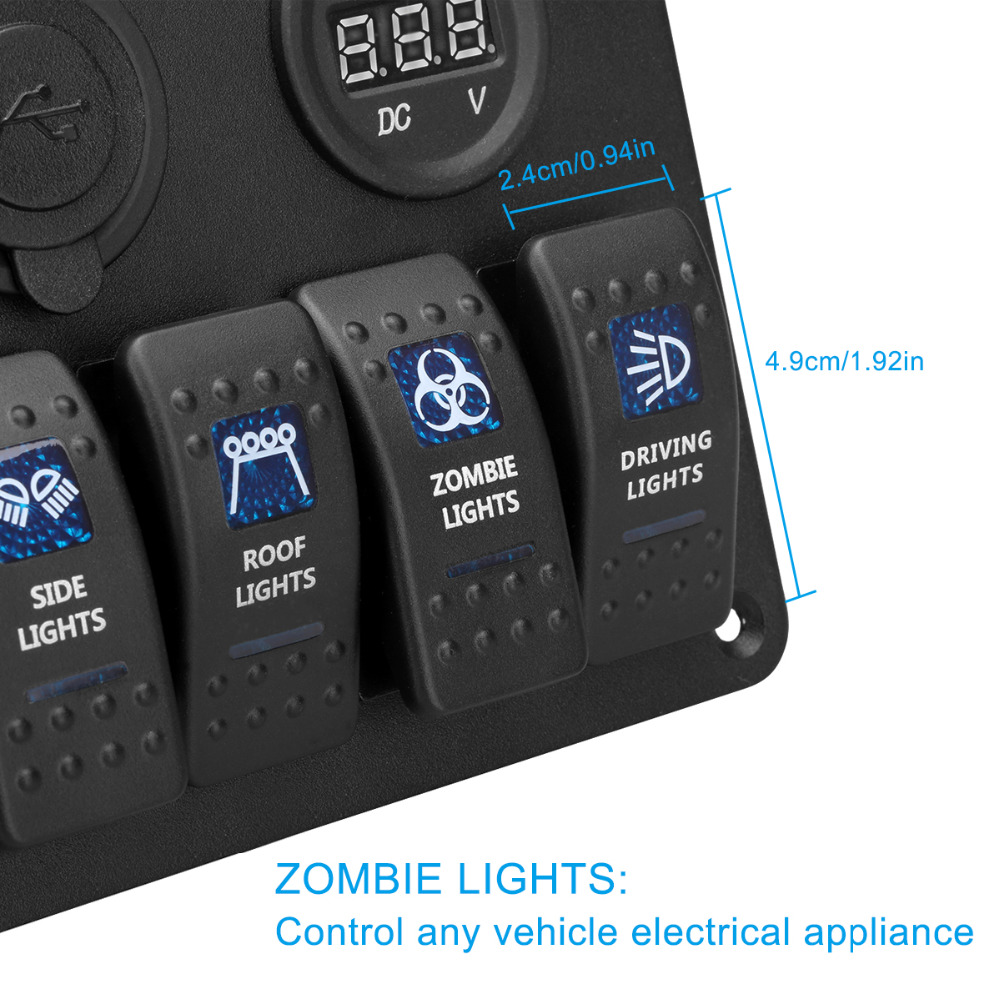 medium resolution of 4 in 1 waterproof aluminum 12v 24v boat marine 6 gang led rocker switch panel dual usb charger cigarette socket voltmeter in cables adapters sockets from