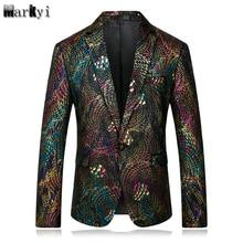MarKyi good quality peacock printed men blazer pattern 2018 spring long sleeve slim fit plus size 4xl