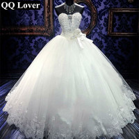 QQ Lover 2018 New Ball Gown Wedding Dress Sexy Beaded Custom Made Plus Size Bride Wedding