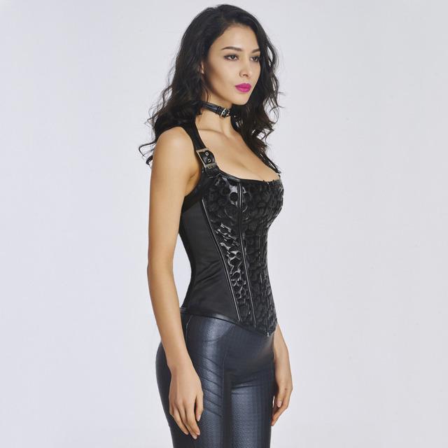 Moonight mujeres negro pu overbust steampunk corsé con la correa del halter atractivo body shaperwear delgado underwear ropa