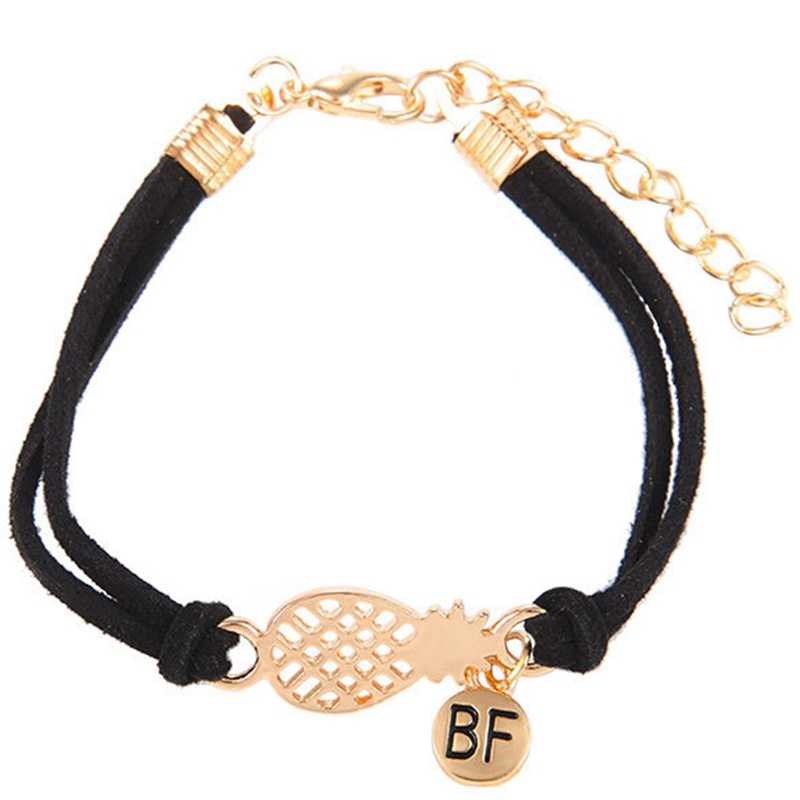 Pulsera de piña para mujer Regalos delicados BFF joyería amistad Acero inoxidable oro rosa Ananas pulsera femenina