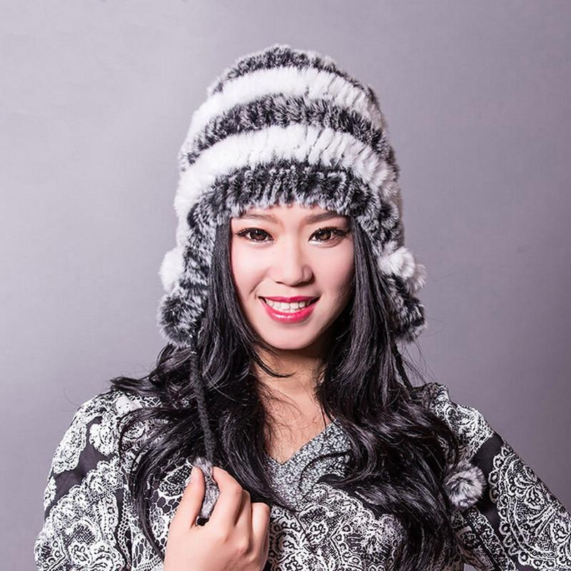 Winter hats for women fur hat New stripe type fashion protect your ears rex rabbir fur warmth women winter hat free shipping
