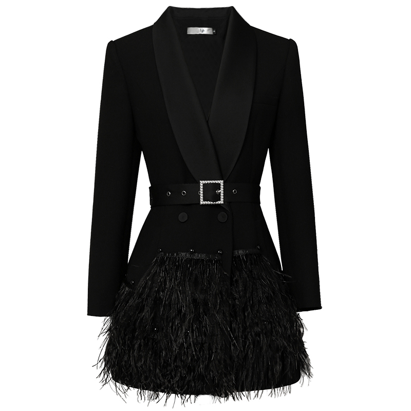 2019 Luxury Designing European High Street Women Formal Slim Black Long Blazers Shawl Collar Feather Patchwork Blazer With Belt