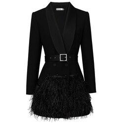 2019 Luxury Designing European High Street Women Formal Slim Black Long Blazers Shawl Collar Feather Patchwork Blazer with Belt