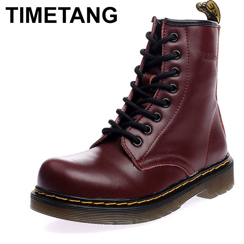TIMETANG New Spring Fashion Boots Women Shoes for Lady Genuine Leather Boots White Brand Martin Boots Breathable C223 2017 autumn fashion boots sequins women shoes lady pu leather white boots bling brand martin boots breathable black lace up pink