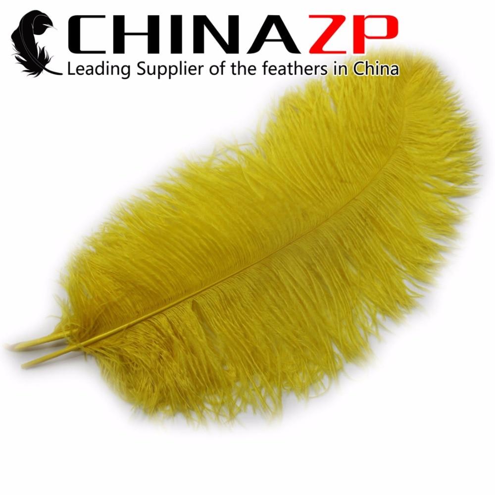 Or Fabricant CHINAZP Usine Taille 16 ~ 18 pouce (40 ~ 45 cm) 100 pcs/lot Sélectionnés Qualité Teints jaune grande Autruche Plumes dans Plume de Maison & Jardin