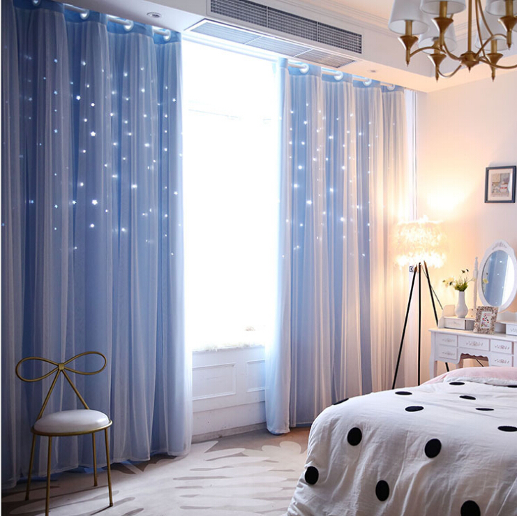 2018 New Hollow Star Curtain High Shade Fabric Curtain Silk Screen Lace Double Starry Curtains With Attached Valance