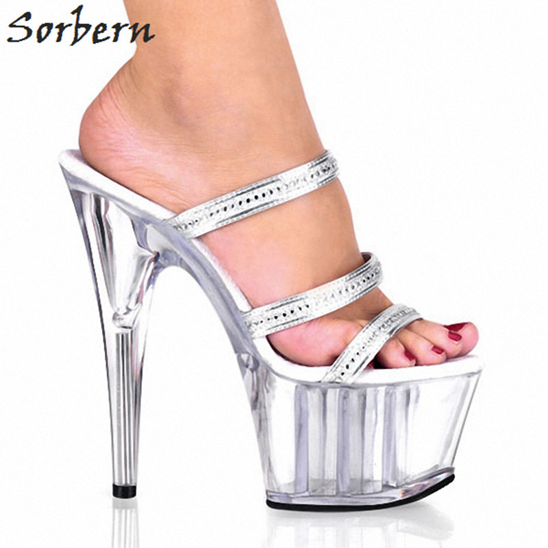 Sorbern Silver Crystals Straps Women Slippers Clear High Heel Platform Shoes Ladies Open Toe Slippers Ladies Womans Shoes 2018 stylesowner rabbit fur plush high heel slippers transparent clear slippers clip toe thin high heels shoes ladies shoes for women