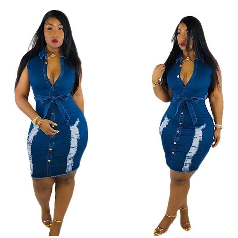 Сексуальное модное облегающее мини-платье без рукавов женское летнее vestidos 2019 рваные джинсовые платья женское винтажное вымытое джинсовое платье