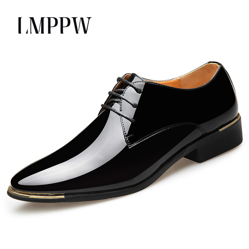 2018 New Men 39 s Business Dress Shoes Luxury Brand Patent Leather Wedding Party Shoes Black White Pointy Lace up Men Flat Shoes 2A in Formal Shoes from Shoes