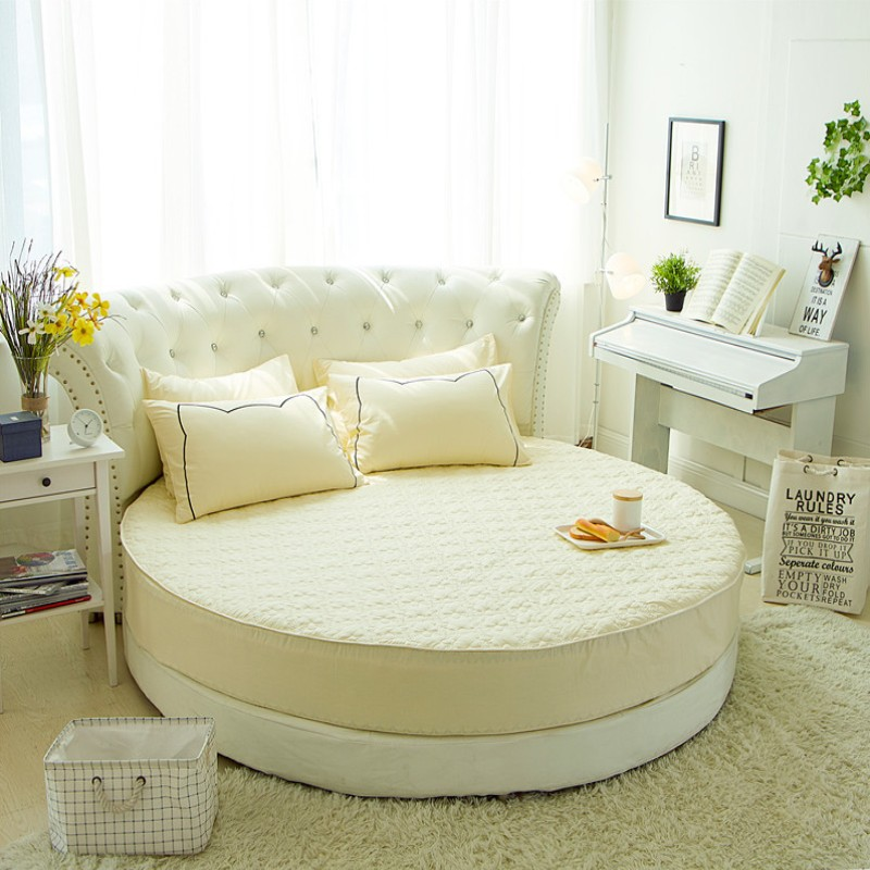 Round Quilted Mattress Protector 100% Cotton Fitted Sheet Romantic Round Bed Sheet Theme Hotel Wedding Bedding