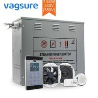 7.5KW 240V/ 380V Metal Wet Steam Sauna Spa Room Generator bluetooth Shower Bath Cabin Accessories Temperature Sensor Controller