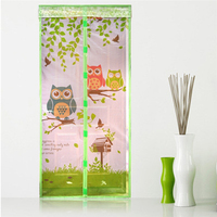 Anti Mosquito Magnetic Curtain Automatic Closing Door Screen Owl Style Print Polyester Fiber 4 Color 2