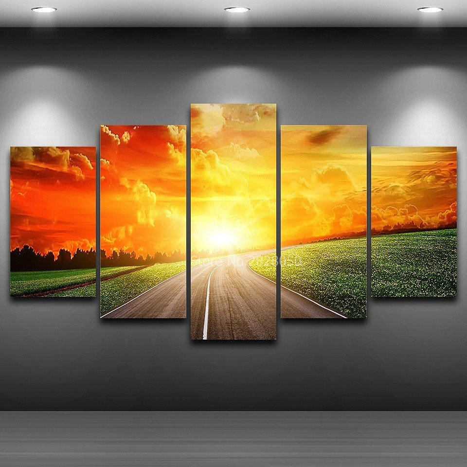 Country Road Sunset Landscape Poster Paintings Living Room