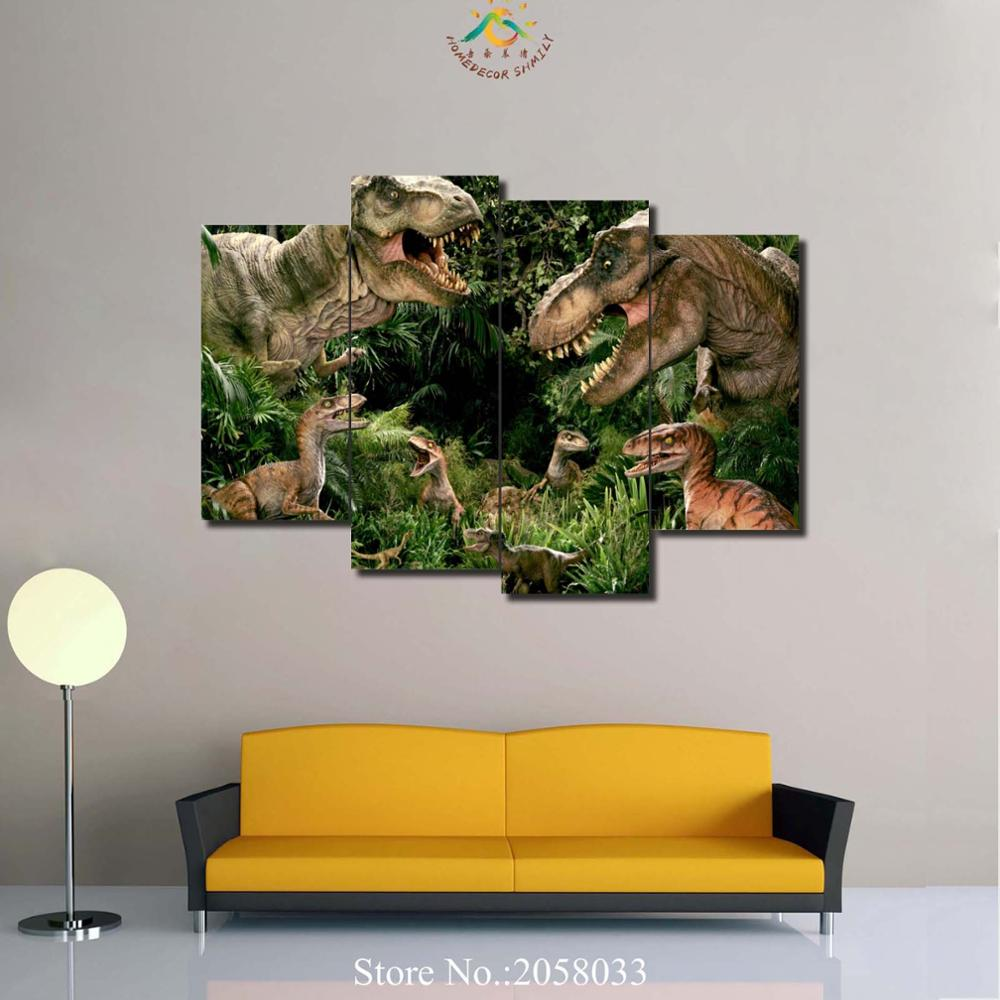 Us 11 03 37 off4 or 5 pieces abstract canvas painting jurassic park wall art wall pictures dinosaurs forest movie home decor in painting