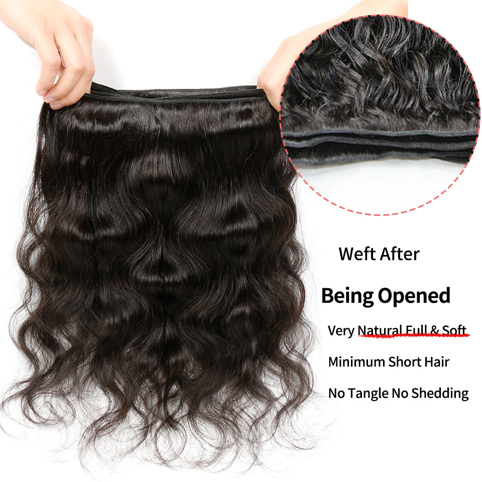 Alimice Hair Malaysian Body Wave Hair Extension Ikke-Remy Hair 100% - Menneskehår (sort) - Foto 5