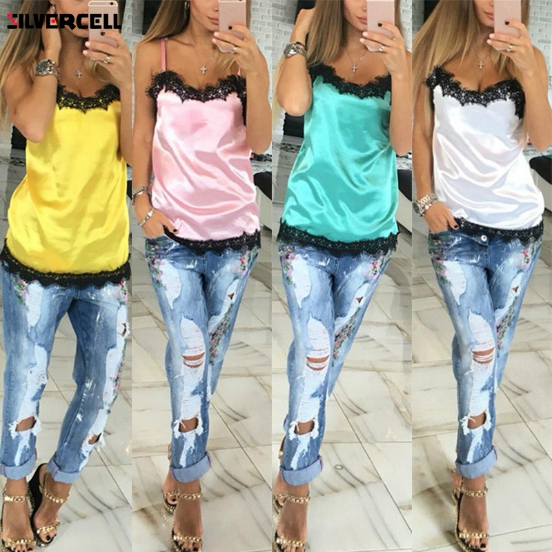 camiseta tirantes mujer Camisoles women crop   top   Sexy Lace Patchwork Vest topjes Sleeveless   Tank     Tops