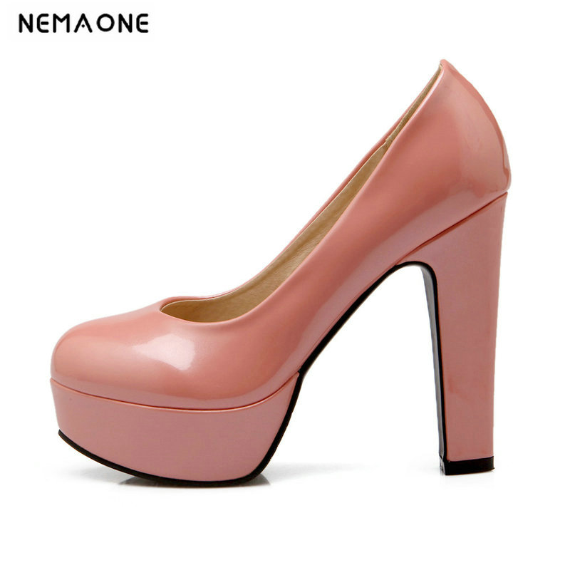 New Women Pumps Shoes Women PU Leather Shallow Slip-On Round Toe High Heels Wedding Party Derss Shoes Plus Size 34-42