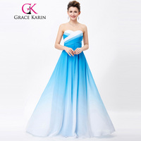 Grace Karin Evening Dresses 2017 Chiffon Elegant Ombre Evening Prom Dresses Long Formal Gowns Special Occasion