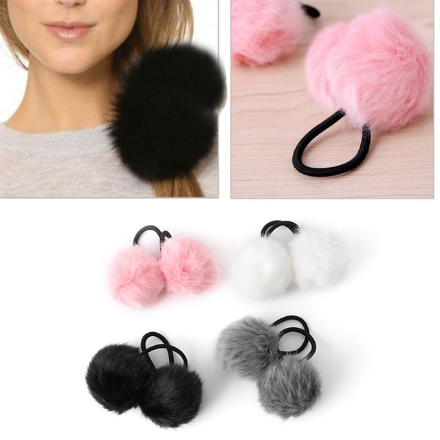 Lovely Faux Rabbit Fur Pompom Ball Hair Scrunchie Elastic Ponytail Holder Hair Band