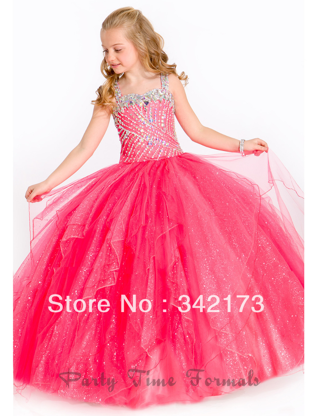 Best Pink Embellished Bodice Ruffle Tulle Pageant Ball Gowns Little ...