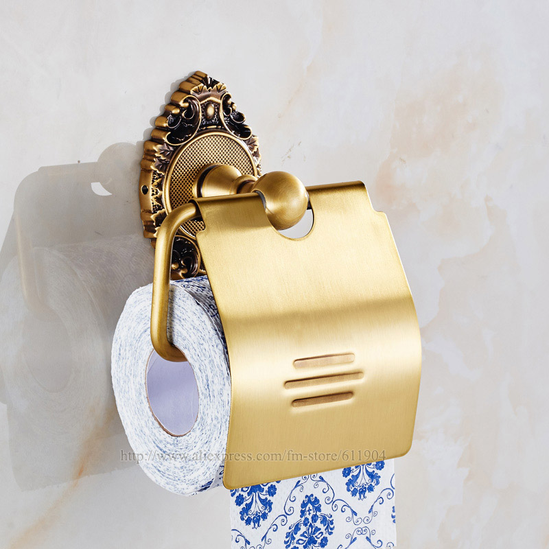 Luxury Antique Brass Paper Box Roll Holder Toilet Gold Paper Holder Tissue box Bathroom Accessories Bath Hardware 33G2302 luxury brass gold toilet paper box roll holder bathroom accessories bath hardware crystal metal paper holder