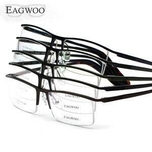 Image 5 - Oprawki optyczne ze stopu aluminium pół obręczy receptę mężczyźni prostokątne zielone okulary biznes sportowe spektakl 823022