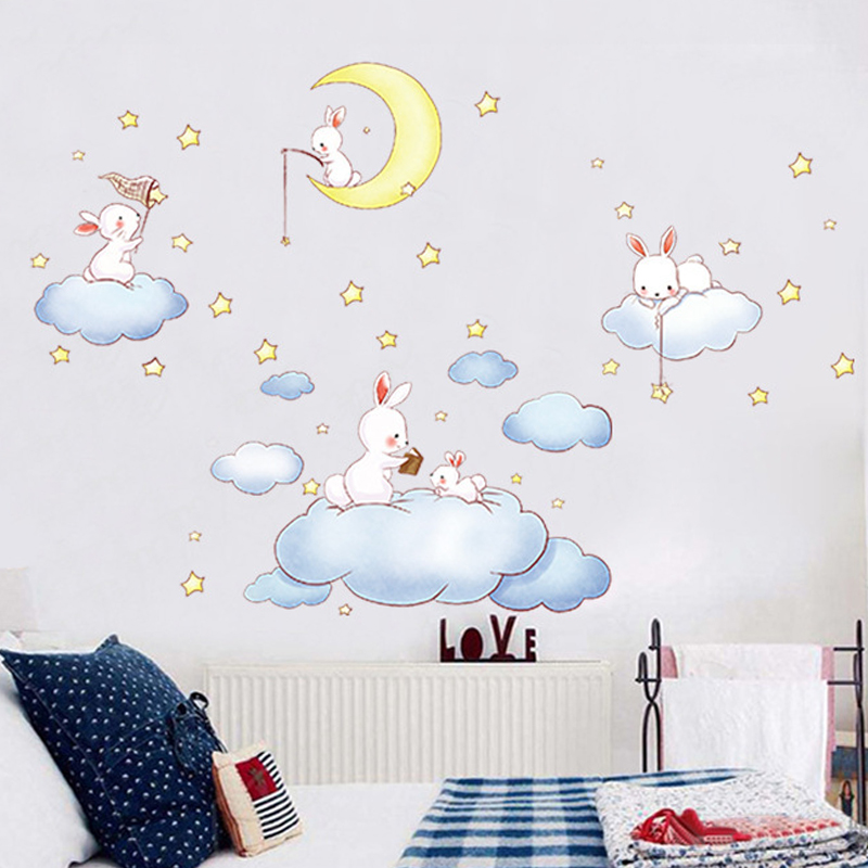US $7.65 9% OFF|Cute clouds rabbit wall stickers for kids rooms removable  DIY children bedroom wall decals home decor cartoon wallpaper-in Wall ...