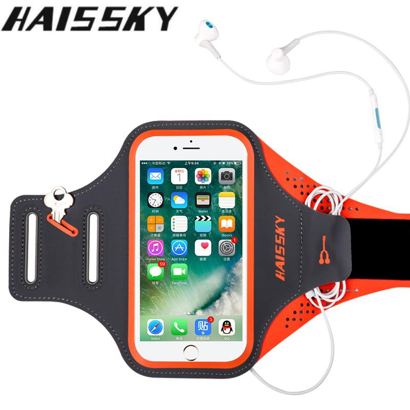 Haissky Laufende Sport Telefon Fall Auf Hand Telefon Halter Brassard Arm band Für Samsung S10 S10e iPhone X XR 7 8 Plus Armbinden Taschen